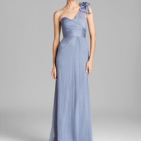 Amsale Dresses | Silk Chiffon Gown Style G787c In Slate | Poshmark